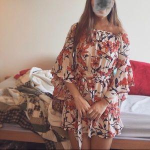 Essue floral print off-shoulder dress